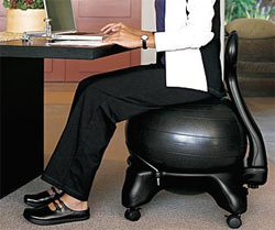 Using a Ball Chair for Less Back Pain